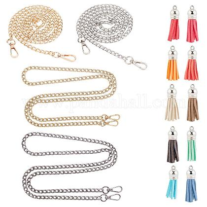 PandaHall 4 Strands 46 Inch Iron Curb Chain Strap Handbag Chains Accessories Purse Straps Shoulder Cross Body Replacement Straps 10 pcs Colorful Faux Suede Tassel Pendants DIY-PH0004-47