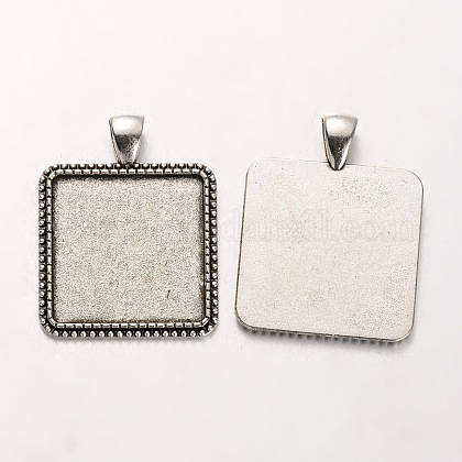 Tibetan Style Alloy Square Pendant Cabochon Settings PALLOY-J494-56AS-1