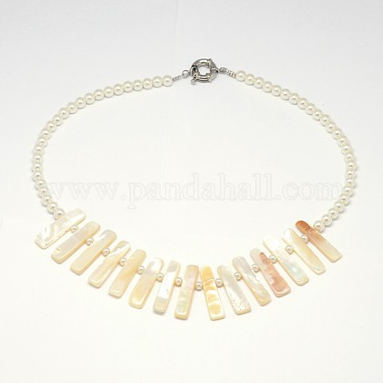Collares babero con cuentas de madre perla natural blancoNJEW-L096-04-1