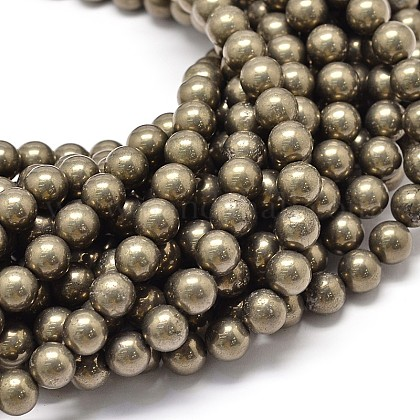 Natural Pyrite Beads Strands G-P075-54-8mm-1
