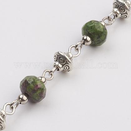 Natural Ruby in Zoisite Beads Handmade ChainsAJEW-JB00405-02-1