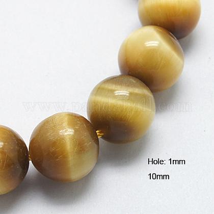Naturales tigre amarillo abalorios del ojo de hebrasG-G212-10mm-18-1