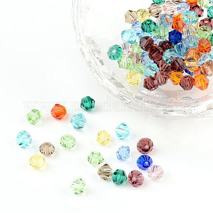Mixed Color Bicone Faceted Glass Crystal Spacer BeadsX-I5301GB4MM-1