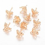 Brass Peg Bails Pendants, For Half Drilled Beads, Light Gold, 11x8mm, Hole: 1mm; Pin: 1mm
