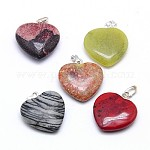 Natural & Synthetic Mixed Stone Pendants, with Brass Findings, Heart, 22x20x6~7mm, Hole: 2x5.5mm