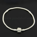 Brass European Style Bracelet Makings, with Brass Clasps, Silver Color Plated, 190x3mm