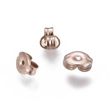 Placas de vacío 304 tuercas de oreja de acero inoxidable, pendiente trasero, oro rosa, 6x4.5x3mm, agujero: 0.8 mm