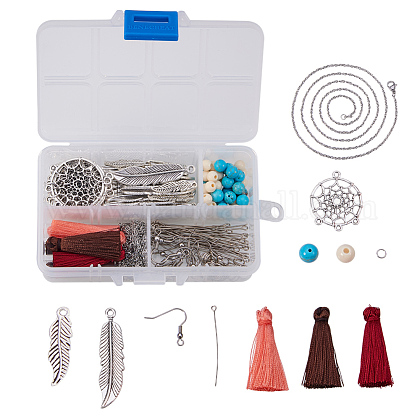 SUNNYCLUE® DIY Woven Net/Web with Feather Earring and Necklace MakingDIY-SC0002-69-1