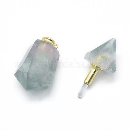 多面的な天然蛍石の開閉可能な香水瓶ペンダントG-E556-12A-1