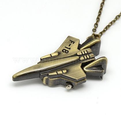 鉄のチェーンとカニカン付き合金戦闘機デザインペンダント懐中時計ネックレスX-WACH-N011-59-1