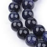 Synthetic Blue Goldstone Beads Strands, Round, 10~10.5mm, Hole: 1.2mm; about 36pcs/strand, 15.5inches