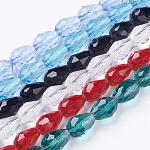 Chapelets de perles en verre, facette, goutte , couleur mixte, 11x8mm, trou: 1mm; environ 60 pcs/chapelet, 28