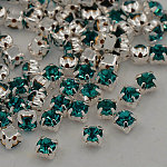 Sew on Rhinestone, Grade A Glass Rhinestone, with Brass Prong Settings, Garments Accessories, Silver Color Plated Metal Color, Blue Zircon, 3~3.2x3~3.2mm, Hole: 1mm; about 1440pcs/bag