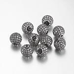 Brass Cubic Zirconia Beads, Round, Gunmetal, 12mm, Hole: 2mm