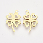 201 Stainless Steel Pendants, Laser Cut Pendants, Four Leaf Clover, Golden, 19x12x1mm, Hole: 1.4mm