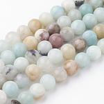 Natural Amazonite Bead Strands, Round, 6~6.5mm, Hole: 1mm; about 60pcs/strand, 14.9''(38cm)