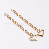 Vacuum Plating 304 Stainless Steel Chain Extender, with Heart Charms, Golden, 62~70mm; Ring: 4x3x0.5mm, Heart: 11x11x1mm.