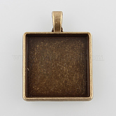 Alloy Pendant Cabochon Settings, Plain Edge Bezel Cups, Square, Nickel Free, Antique Bronze, Tray: 25x25mm; 37.5x29x4mm, Hole: 3.5x5mm; about 135pcs/kg
