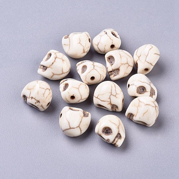 Синтетические бусины из магнезита, окрашенные, для Хэллоуина, череп, цветочный белый, 12x10 мм, отверстие : 1 мм, около 550 шт / кг
