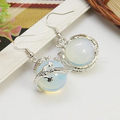 Fashion Opalite Earrings with Brass Earring HooksEJEW-E002-2-1
