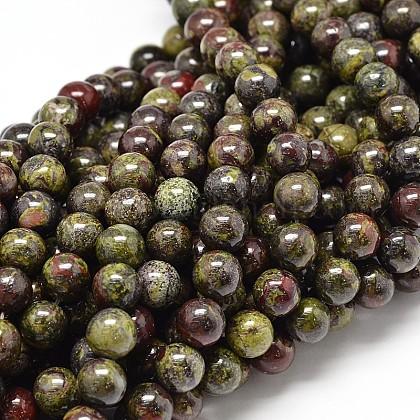 Natural Bloodstone Round Beads StrandsG-P075-04-4mm-1
