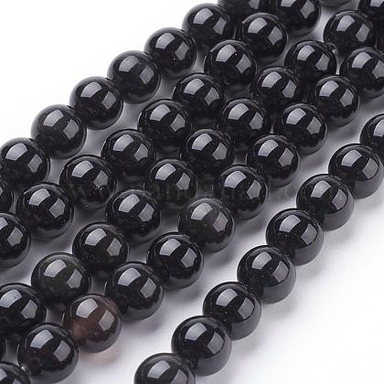 Natural Obsidian Beads StrandsG-G099-8mm-24-1