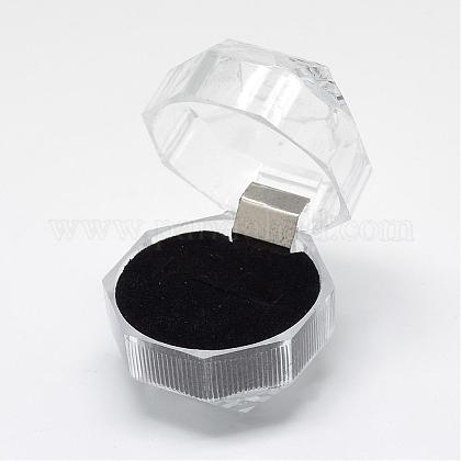 Boîtes à bagues en plastique transparentOBOX-R001-04B-1