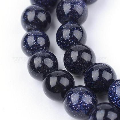 Chapelets de perles en pierre d'or bleue synthétiqueG-Q462-6mm-28-1