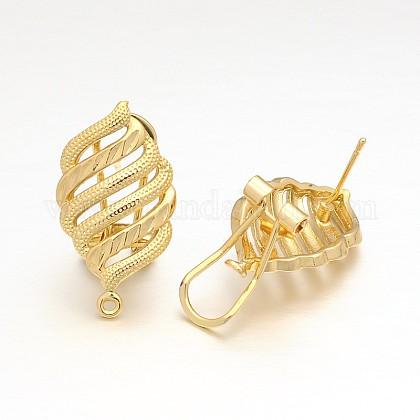 Brass Leaf Stud Earring FindingsKK-O078-04-1