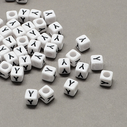 Large Hole Acrylic Letter European Beads X-SACR-Q103-10mm-01Y-1