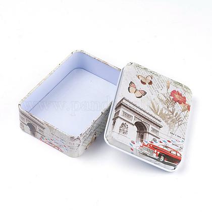 ミニかわいいブリキ収納ボックスCON-WH0061-A05-1