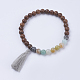 Natural & Synthetic Mixed Stone & Wood Stretch Bracelets BJEW-JB03480-3