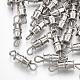 Iron Screw Clasps, Nickel Free, Platinum, 14x4mm, Hole: 1.8mm
