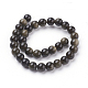 Natural Golden Sheen Obsidian Beads Strands G-C076-6mm-5-2