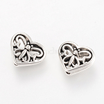 Tibetan Style Alloy Beads, Heart, Cadmium Free & Nickel Free & Lead Free, Antique Silver, 10x12x4mm, Hole: 1.5mm; about 870pcs/1000g