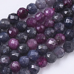 Natural Red Corundum/Ruby and Sapphire Beads Strands, Faceted, Round, 3mm, Hole: 0.7mm, about 120pcs/strand, 15.75 inches(40cm)