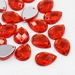 Sew on Rhinestone, Taiwan Acrylic Rhinestone, Two Holes, Garments Accessories, teardrop, Red, about 10mm wide, 14mm long, 4mm thick, hole: 1mm
