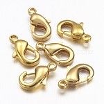 Brass Lobster Claw Clasps, Golden, 10x5x3mm, Hole: 1mm