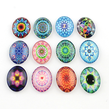 Kaleidoscope Flower Pattern Glass Oval Flatback Cabochons for DIY Projects, Mixed Color, 40x30x8mm