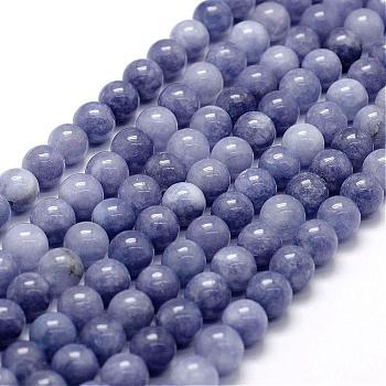 Chapelets de perles en jade blanc naturel d'imitation aigue-marine, ronde, teinte, 8mm, trou: 1mm; environ 48 pcs/chapelet, 15.1 pouces