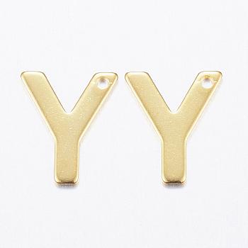 Encantos de 304 acero inoxidable, letter.y, dorado, 11x9x0.8mm, agujero: 1 mm