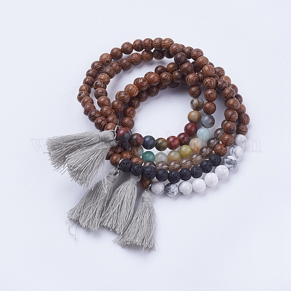 Natural & Synthetic Mixed Stone & Wood Stretch Bracelets BJEW-JB03480-1