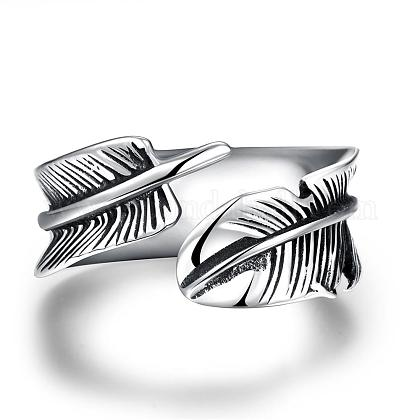 Fashionable Unisex 316L Stainless Steel Feather Cuff RingsRJEW-BB09945-11-1