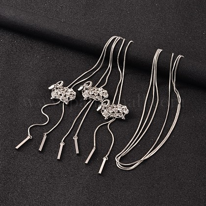 Ovejas de aleación de rhinestone ajustable larga collares LariatNJEW-F194-04P-1
