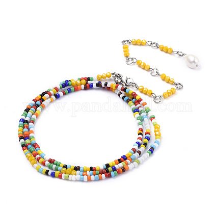 Glass Seed Beads Chain Belts NJEW-C00012-1