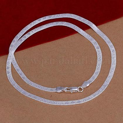 Popular Silver Color Plated Brass Flat Snake Chain Necklaces For Men NJEW-BB12836-1