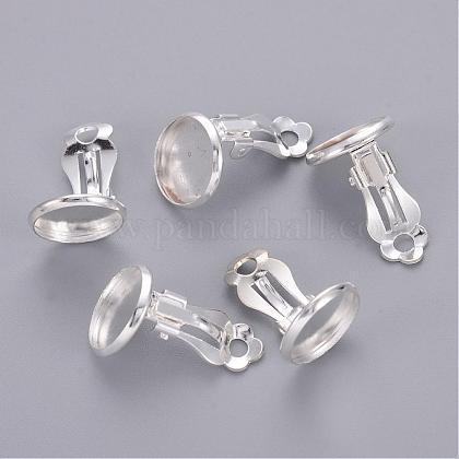 Flat Round Brass Clip-on Earring SettingsX-KK-I007-S-NF-1