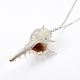 Electroplate Spiral Shell Pendant NecklacesNJEW-JN02281-03-3
