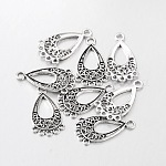 Tibetan Style Chandelier Component Links, Lead Free and Cadmium Free and Nickel Free, teardrop, Antique Silver, 28x15.5x1mm, Hole: 1.5mm