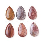 Natural Gemstone Pendants, Teardrop, 38~41x24~26x6~8mm, Hole: 1.5~2mm
